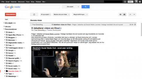 Nya Google Reader bloggpost