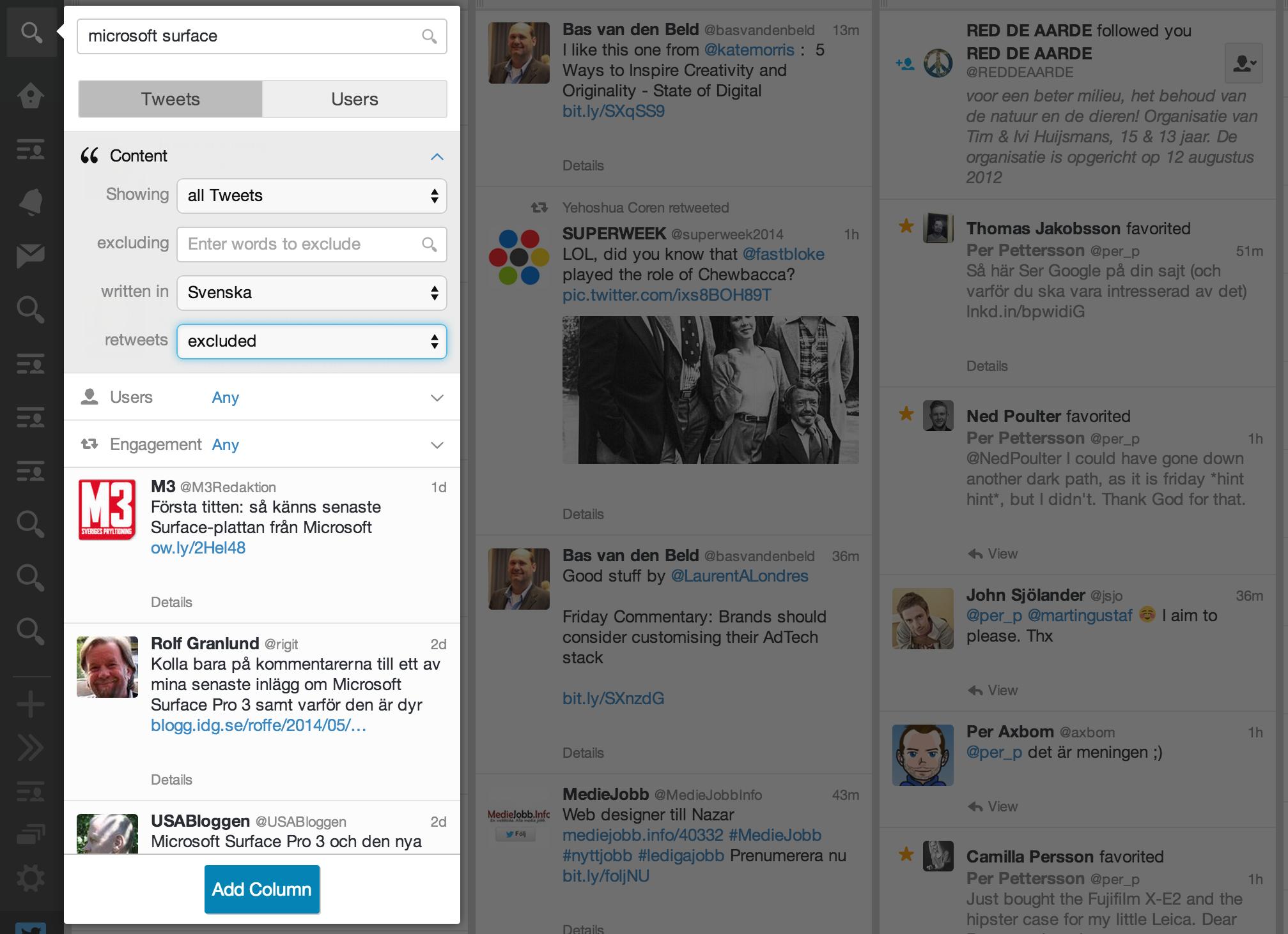 TweetDeck - smarta sökningar