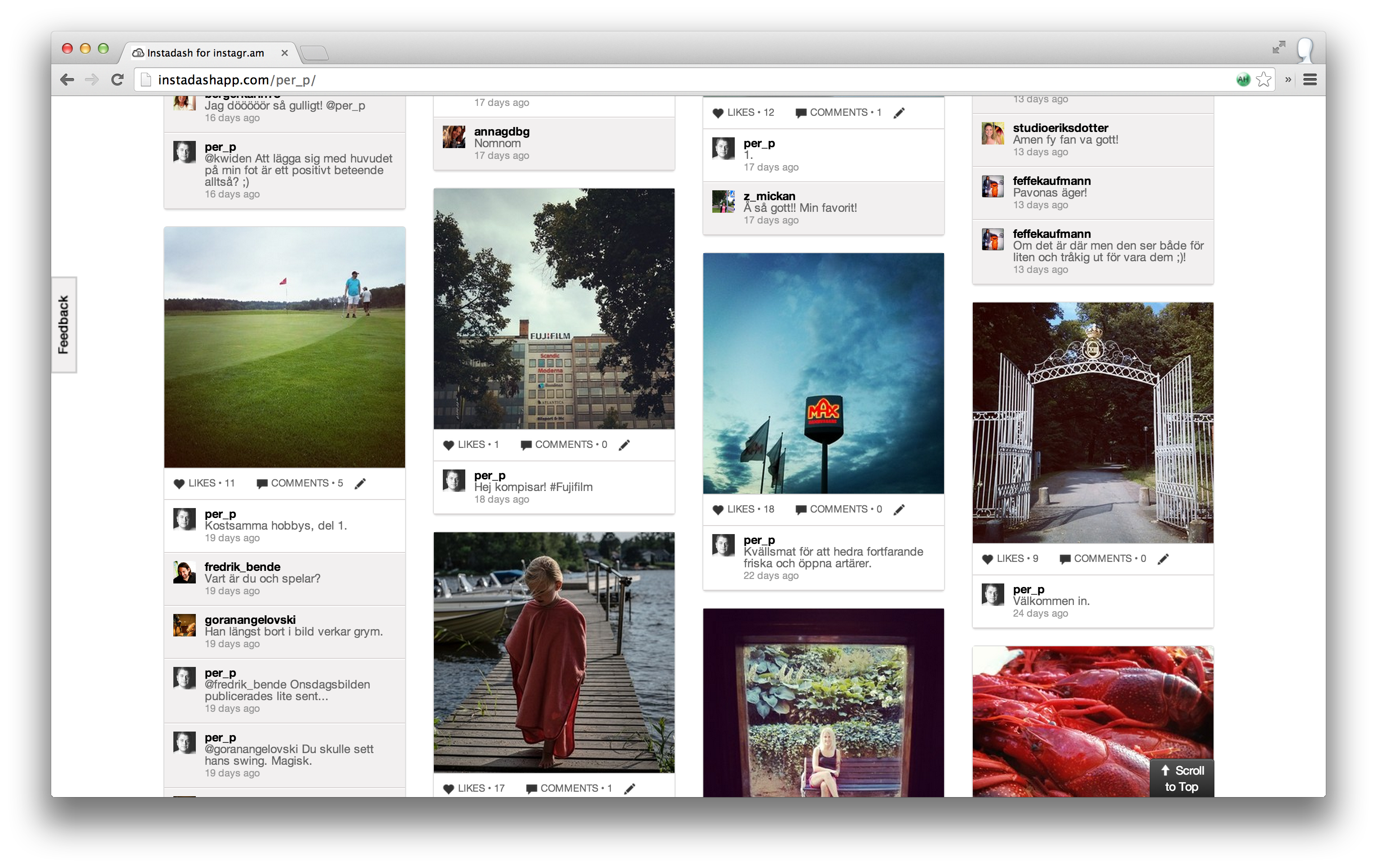 Din Instagram-bilder på Instadash