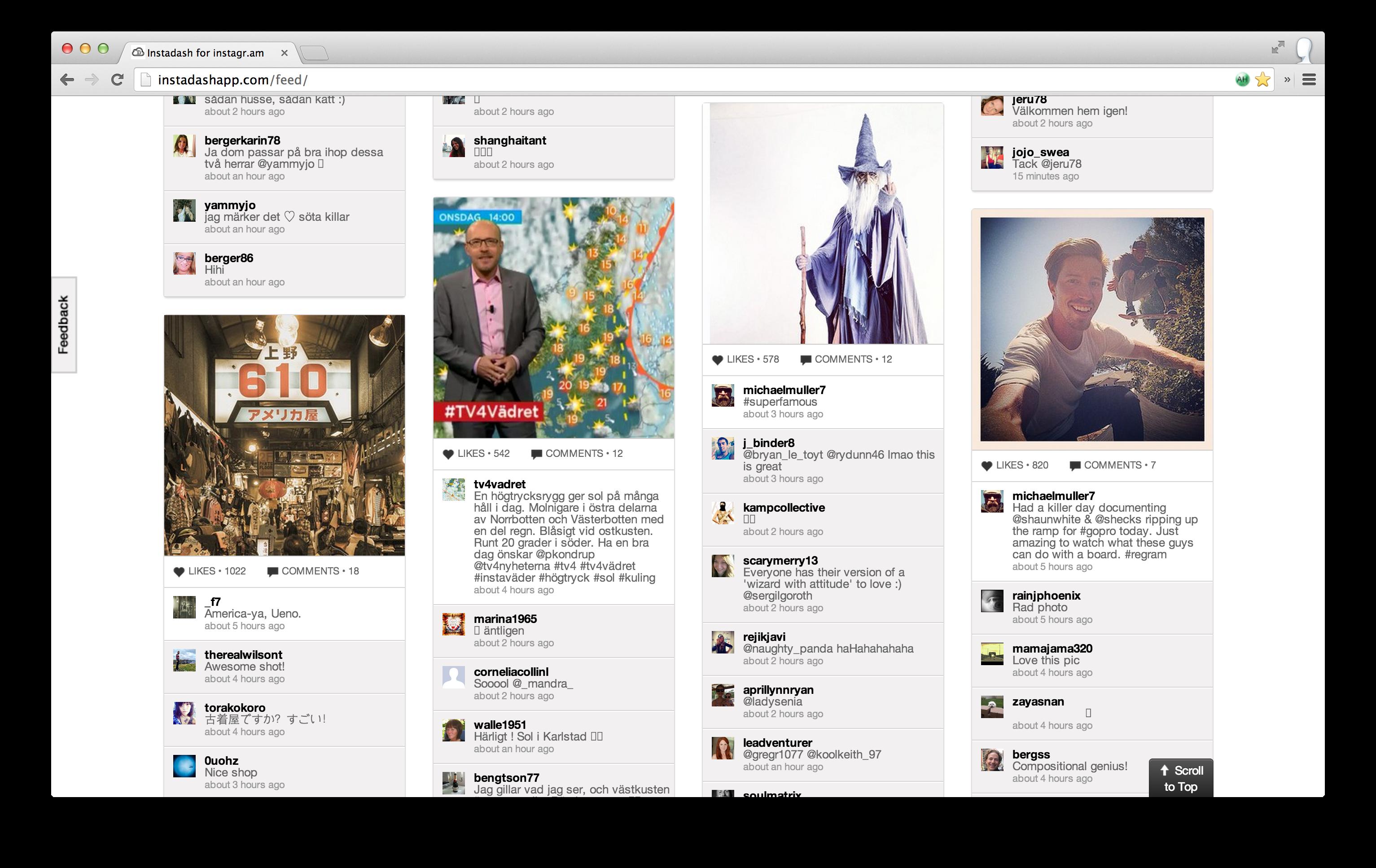 Instadash - Instagram flöde i webbläsaren