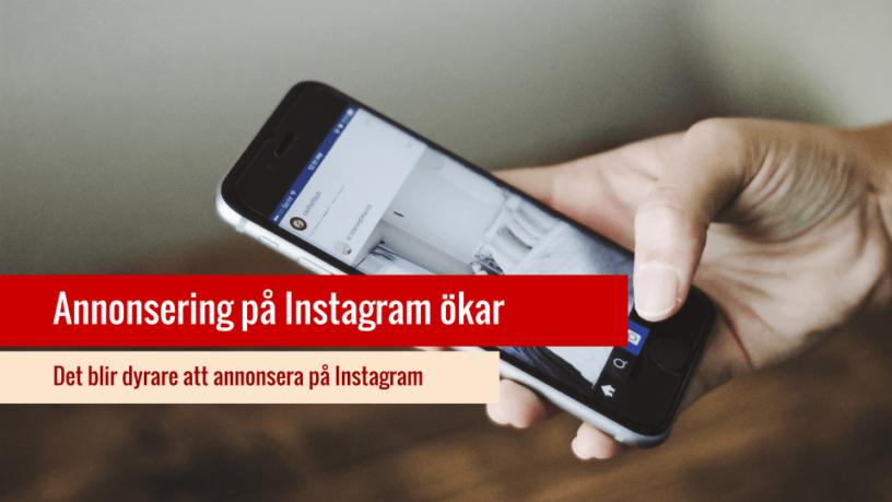 Dyrare att annonsera på Instagram