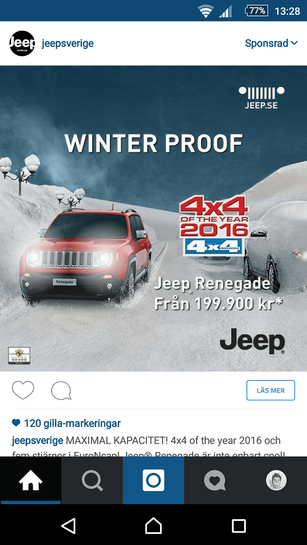 Jeep - annons på Instagram