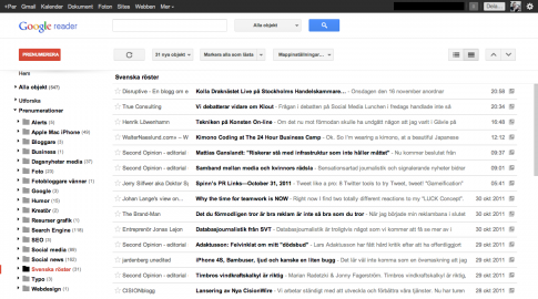 Nya Google Reader bloggposter