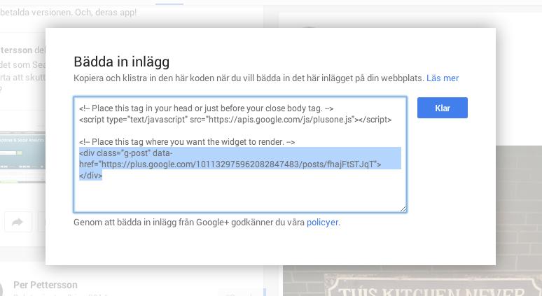 Google+ postens kod att lägga in i bloggposten