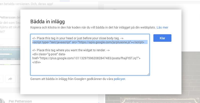 Google+ postens kod att lägga till i header-taggen