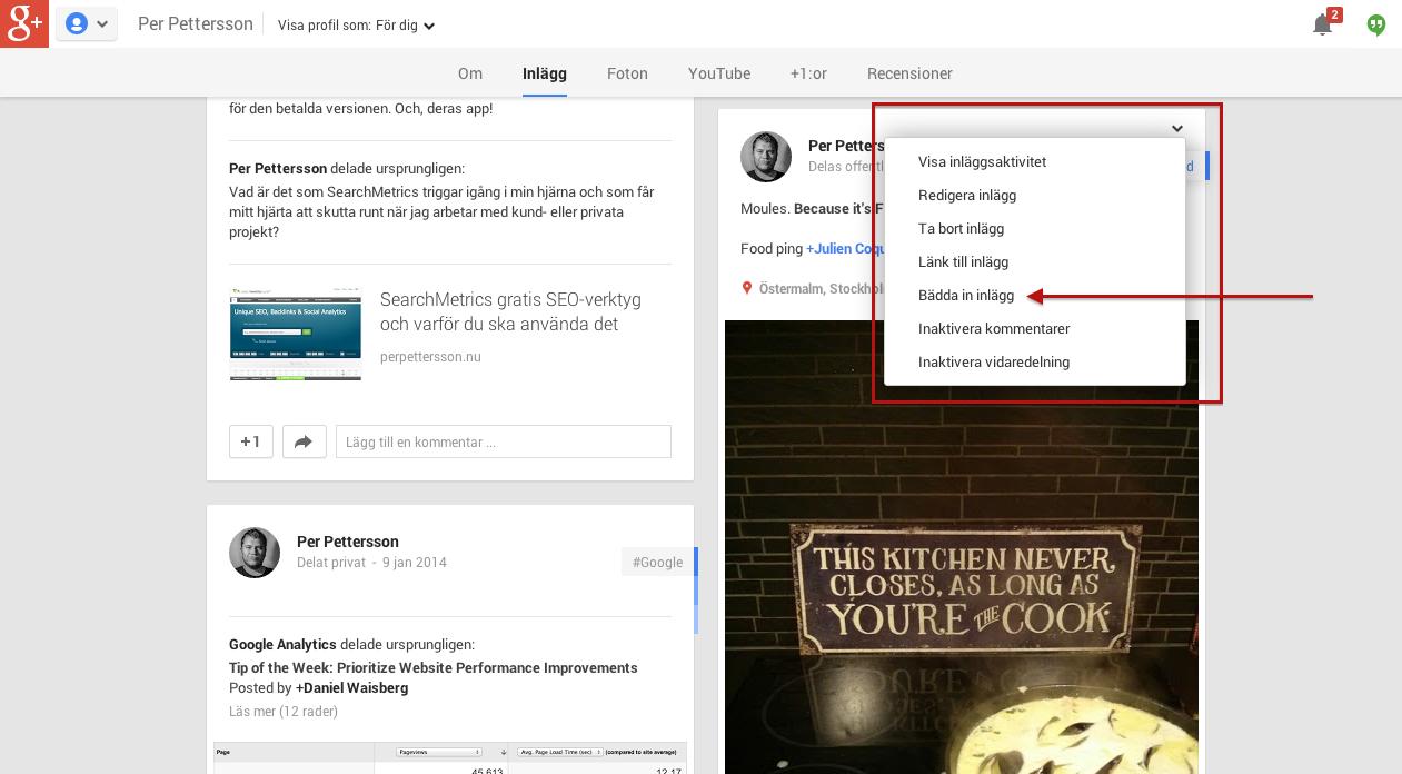 Bädda in Google+ post