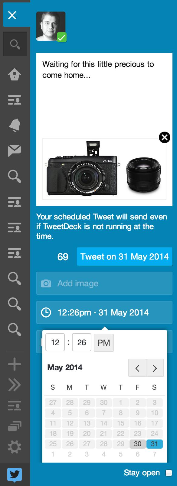 Schemalägg tweets med bilder i TweetDeck