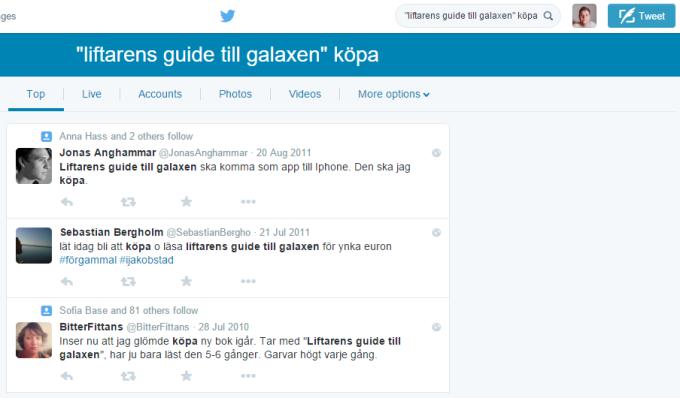 Twittersökning, köpa liftarens guide till galaxen