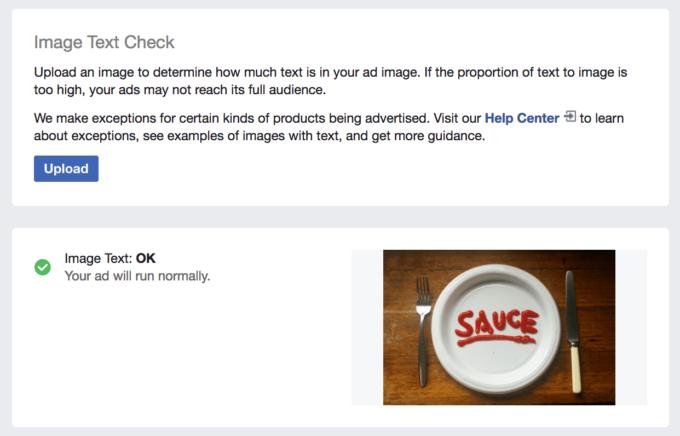 Facebook kontroll av textmängd i annons.