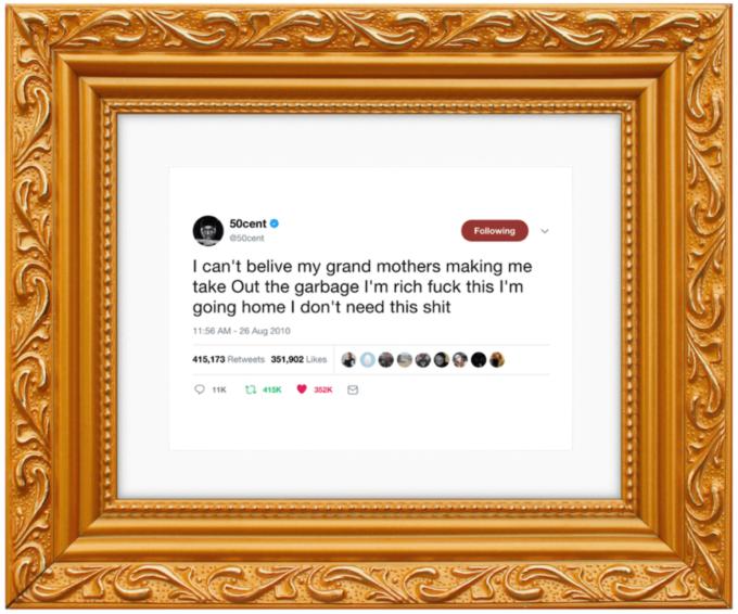 Tweet från 50 cent - inramad