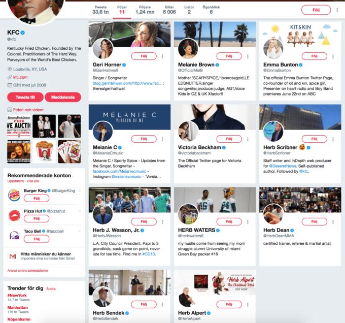 KFC följer på Twitter