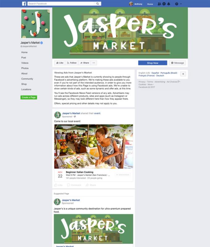 Facebook sida med annonser