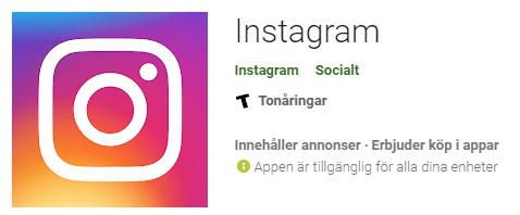 Instagram-appen i Google Play Store.