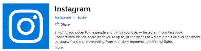 Instagram-appen för Windows 10.